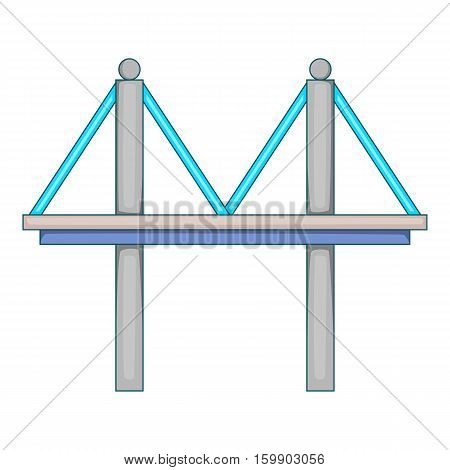 Bridge with iron supports icon. Cartoon illustration of bridge vector icon for web design