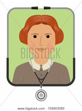 Cartoon illustration of Elizabeth Blackwell the first female doctor. Eps10