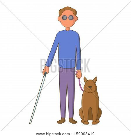Blind man with guide dog icon. Cartoon illustration of blind man with guide dog vector icon for web design