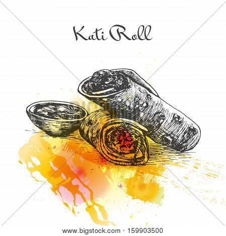 Kati Roll watercolor effect illustration. Vector illustration of Indian cuisine.