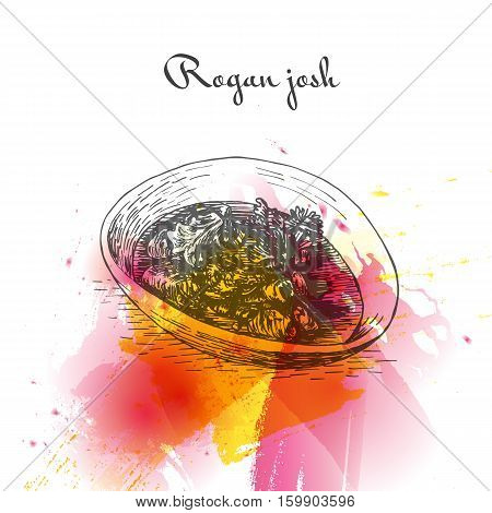 Rogan josh watercolor effect illustration. Vector illustration of Indian cuisine.