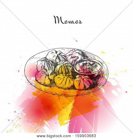 Momos watercolor effect illustration. Vector illustration of Indian cuisine.