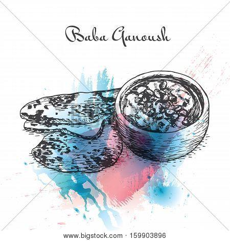 Baba Ganoush watercolor effect illustration. Vector illustration of Israeli cuisine.
