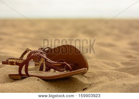 Brown leather women's sandles abandoned on the beach