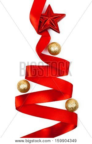 christmas tree made from ribbon isolated on white background