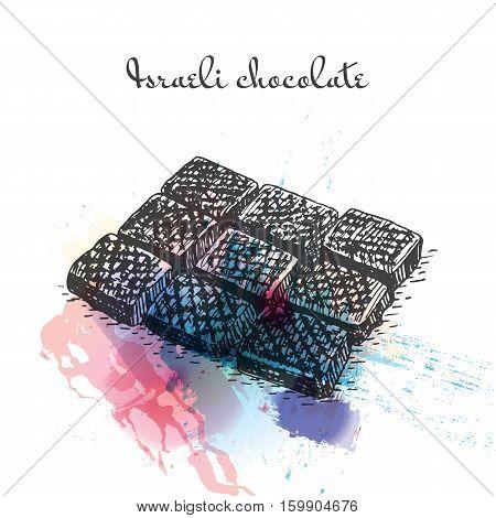 Israeli chocolate watercolor effect illustration. Vector illustration of Israeli cuisine.
