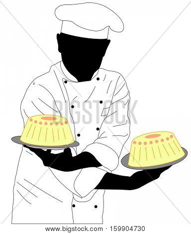 confectioner holding two cakes - vector