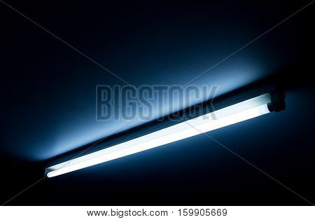 Detail of a fluorescent tube mounted on a wall false green color light