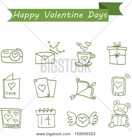 Various icon valentine collection stock vector illustration