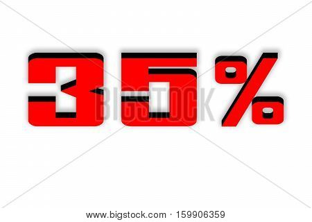Discount 35 percent off. Red 3D illustration on white background.