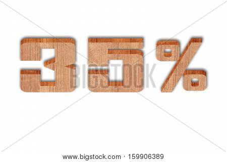 Discount 35 percent off 3D illustration on white background ( alphabet in wooden floor )