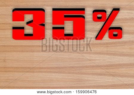 Discount 35 percent off 3D illustration on wood floor background.