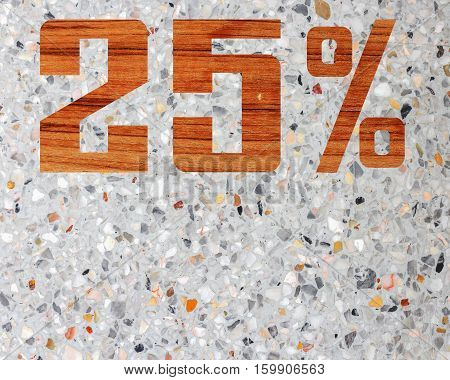 Discount 25 percent off 3D illustration on terrazzo floor background.