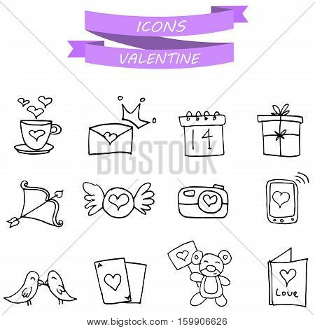 Vector art valentine icons with hand draw collection stock