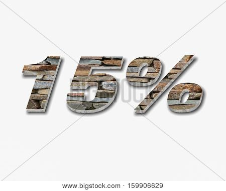 Discount 15 percent off. 3D illustration on white background.