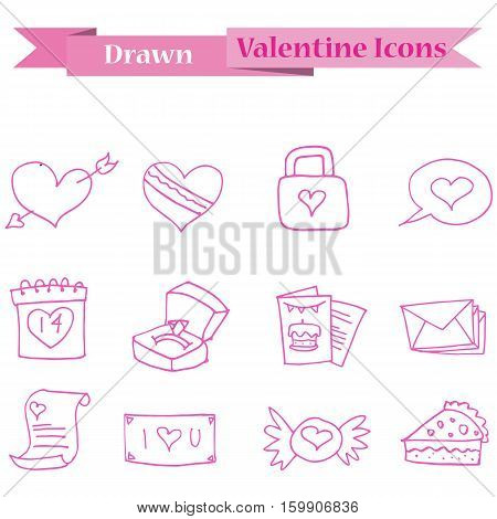 pink icon of valentine collection stock vector art