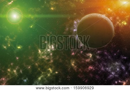sky and sun light reflex with colorful nebulae in galaxy illustration abstract beautiful for background