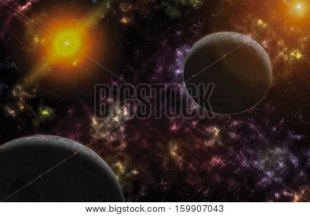 sky and sun light reflex with colorful nebulae in galaxy abstract beautiful for background with copy space.