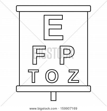 Placard with letters eyesight testing icon. Outline illustration of placard with letters eyesight testing vector icon for web