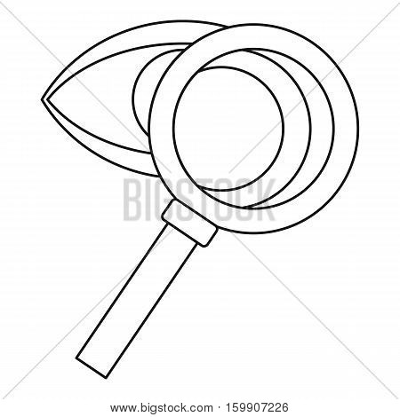 Magnifying glass and eye icon. Outline illustration of magnifying glass and eye vector icon for web