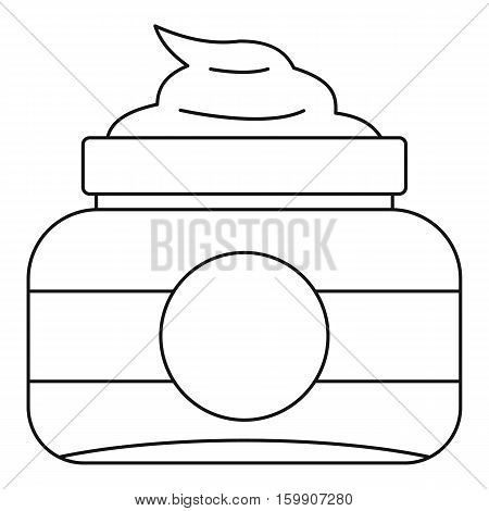 Cosmetic face cream container icon. Outline illustration of cosmetic face cream container vector icon for web