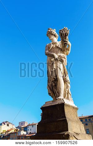 Statue On A Bridge In Florence