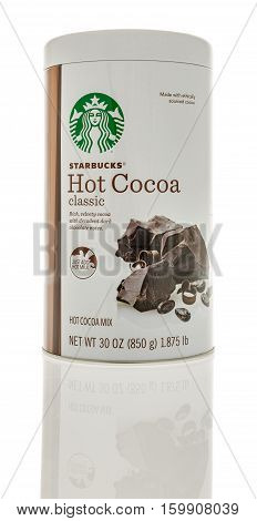 Winneconne WI - 3 December 2016: Tin of Starbucks classic hot cocoa mix on an isolated background.