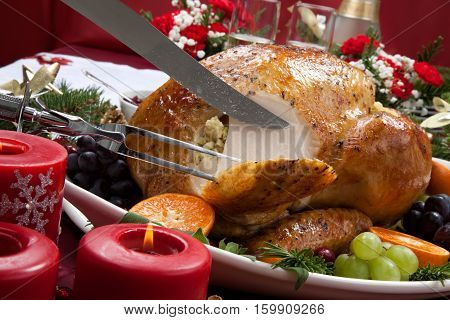 Carving Roasted Turkey For Christmas Dinner