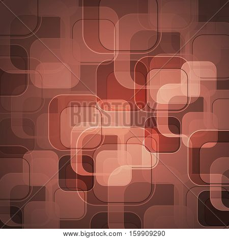 Abstract rose gold background with round rectangle, stock vector