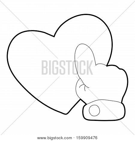 Heart touch icon. Outline illustration of heart touch vector icon for web