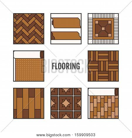 Types of flooring. Flat icons, objects of laminate, parquet, carpets and other building materials. Vector illustration