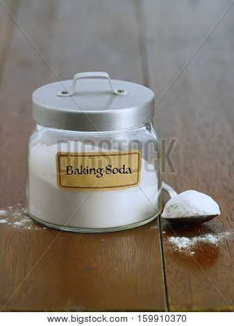 baking soda on the wooden table top