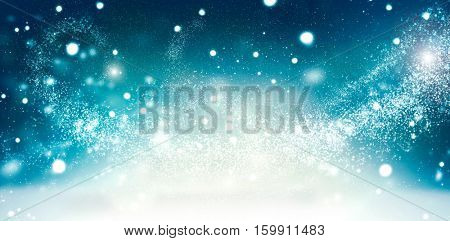 Winter Holiday Snow Background. Snowflakes. Beautiful Christmas and New Year abstract Blue Backdrop with snow. Wide banner