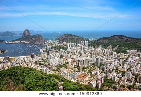 Aerial view of cityscape, the Sugarloaf mountain, Atlantic ocean, Botafogo bay, Botafogo and Humaita districts of Rio de Janeiro, Brazil