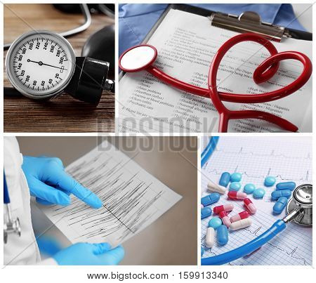 Cardiology collage. Medicine and health care concept
