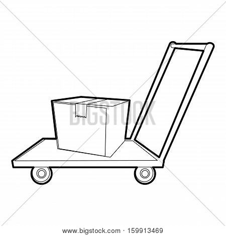 Warehouse trolley icon. Outline illustration of warehouse trolley vector icon for web