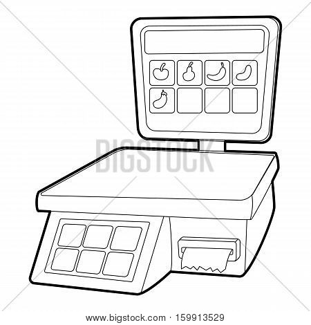Shop scale icon. Outline illustration of shop scale vector icon for web