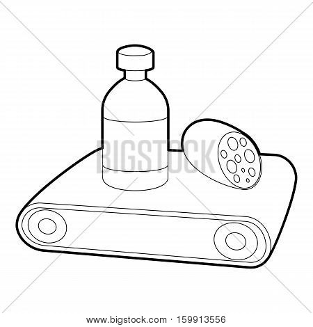 Conveyor belt icon. Outline illustration of conveyor belt vector icon for web