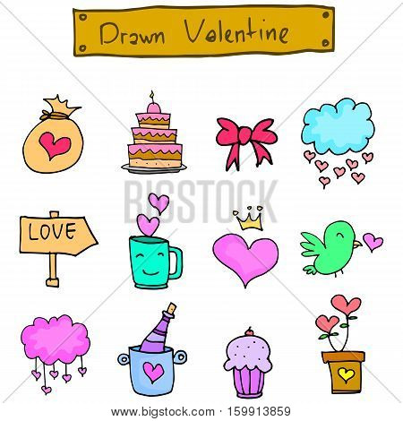 Various valentine element vector art collection stock