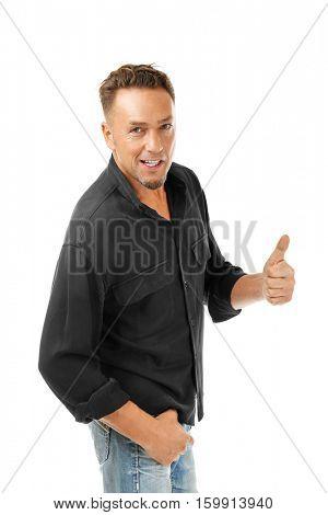 Handsome man on white background