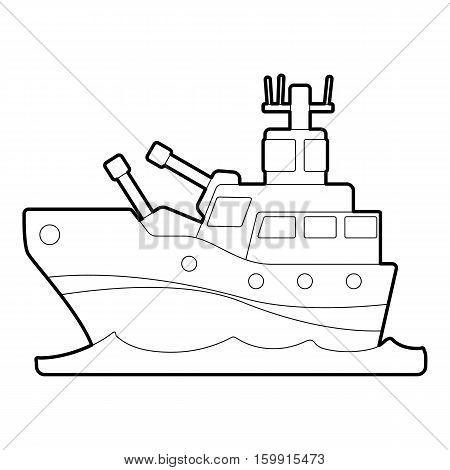 Battleship icon. Outline illustration of battleship vector icon for web
