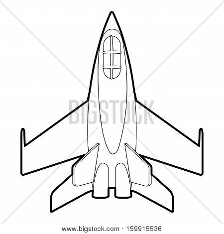 Military jet icon. Outline illustration of military jet vector icon for web
