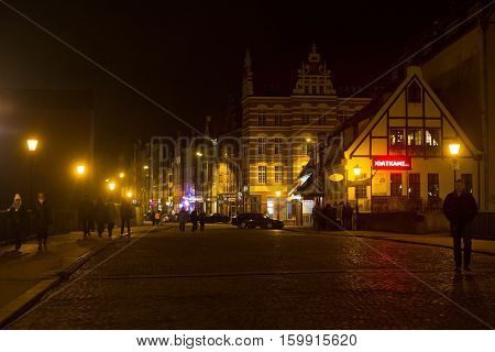 POLAND GDANSK - DECEMBER 12 2014: Historic buildings in the old part of the city. Gdansk is a Polish city on the Baltic coast and popular center of tourism.