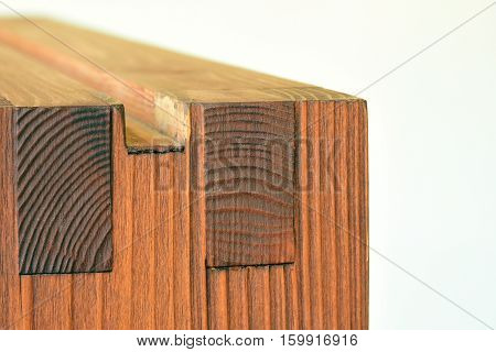 Wooden edge for decorative and building. on white colored background.