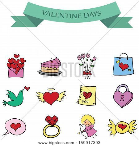 Object valentine set collection stock vector illustration