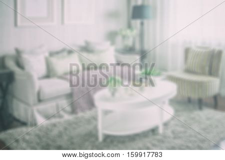 Blur Image Of Living Room Interior With Set Of Elegant Teacup