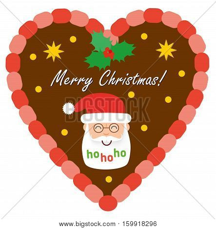 Christmas traditional gingerbread with Santa Claus. Flat style illustration. Gingerbread hearts decorated with icing and head of Santa Claus.