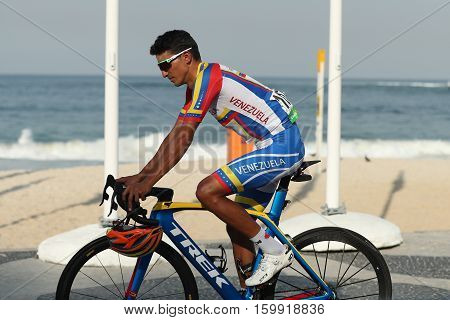 RIO DE JANEIRO, BRAZIL - AUGUST 6, 2016: Cyclist  Yonathan Monsalve of Venezuela after finish Rio 2016 Olympic Cycling Road competition of the Rio 2016 Olympic Games in Rio de Janeiro