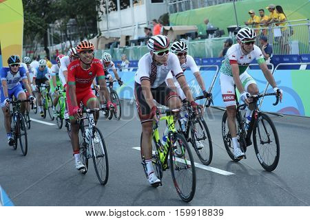 RIO DE JANEIRO, BRAZIL - AUGUST 6, 2016: Cyclists after finish Rio 2016 Olympic Cycling Road competition of the Rio 2016 Olympic Games in Rio de Janeiro