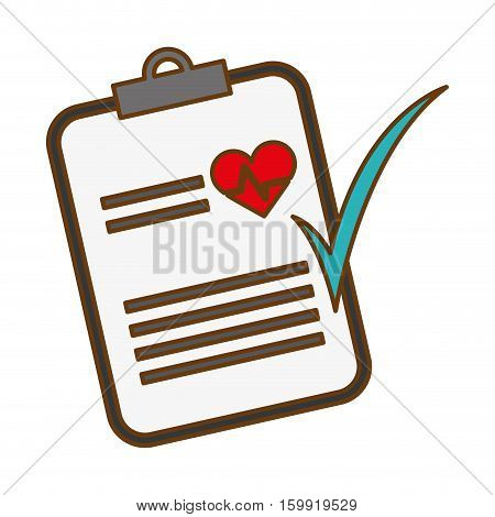 Medical report with cardio heart and check icon over white background. colordul design.vector illustration